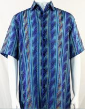 Aqua Blue Wave Pattern Short Sleeve Camp Shirt 5003