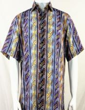 Bassiri Purple Multi-Color Wave Pattern Short Sleeve Camp Shirt 5002