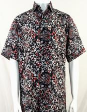 Bassiri Black White and Red Pattern Short Sleeve Camp Shirt 3999