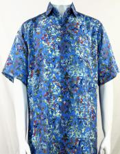 Bassiri Blue Swirls Pattern Short Sleeve Camp Shirt 3997