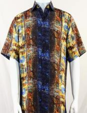 Bassiri Blue Pattern Short Sleeve Camp Shirt 3996