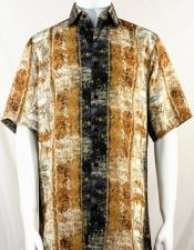 Bassiri Copper Pattern Short Sleeve Camp Shirt 3995