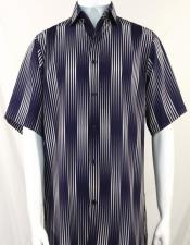 Bassiri Navy Stripes Pattern Short Sleeve Camp Shirt 3994