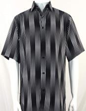 Black Button Front Short Sleeve Imported Shirt