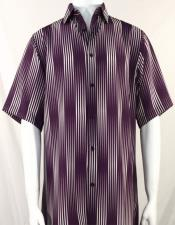 Bassiri Burgundy Stripes Pattern Short Sleeve Camp Shirt 3992