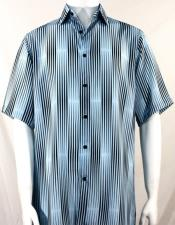 Bassiri LT Blue Stripes Pattern Short Sleeve Camp Shirt 3989