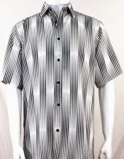 Black Stripes Pattern Short Sleeve Camp Shirt 3987