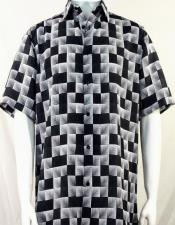 Bassiri Black Dimension Squares Short Sleeve Shirt 3986
