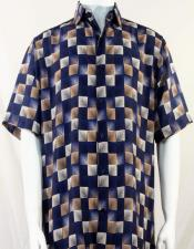 Bassiri Navy Dimension Squares Short Sleeve Shirt 3985