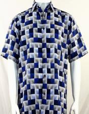 Bassiri Royal 3D Squares Short Sleeve Shirt 3983