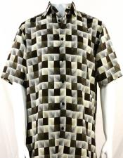 Dark Brown 3D Squares Short Sleeve Shirt 3982