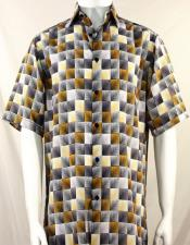 Bassiri Gold 3D Squares Short Sleeve Shirt 3980