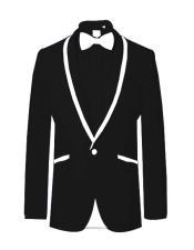 Prom ~ Wedding Tuxedo Dinner Jacket Black/White Trim