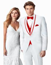 ~ Wedding Tuxedo Suits Wtih Trim Shawl Collar Vested Suit White/Red Trim