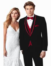~ Wedding Tuxedo Suits Wtih Trim Shawl Collar Vested Suit Black/Burgundy Trim