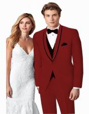 ~ Wedding Tuxedo Suits Wtih Trim Shawl Collar Vested Suit Burgundy/Black Trim