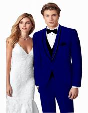 ~ Wedding Tuxedo Suits Wtih Trim Shawl Collar Vested Suit Royal/Black Trim