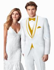 ~ Wedding Tuxedo Suits Wtih Trim Shawl Collar Vested Suit White/Gold