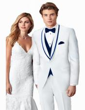 ~ Wedding Tuxedo Suits Wtih Trim Shawl Collar Vested Suit White/Navy Blue Trim