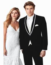 ~ Wedding Tuxedo Suits Wtih Trim Shawl Collar Vested Suit Black/White Trim