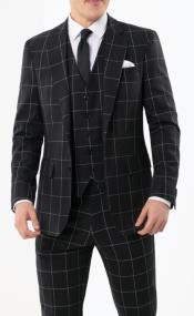 Style Mens Fashion Black Plaid ~ Windowpane Suit Vested 3 Piece 1940s Style Gangster Suit