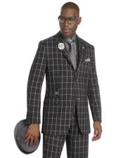 Black/White Peak Lapel Fashion Vested Checkered Suit