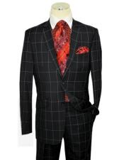 Black/White/Sky Blue Single Breasted 3 Piece Vested Checkered Suit