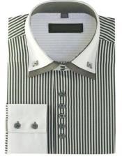 High Collar Clubbing Grey Stripe AH606 Mens Dress Shirt