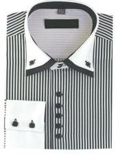 High Collar Clubbing Black Stripe AH606 Mens Dress Shirt