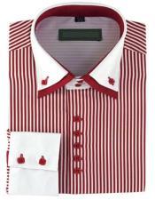 High Collar Clubbing Burgundy Stripe AH606 Mens Dress Shirt