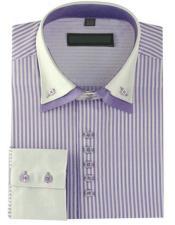 High Collar Clubbing Lilac Stripe AH606 Mens Dress Shirt