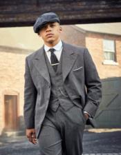 Mens Gray Three Button Peaky Blinders Suit - Peaky Blinders Outfit +