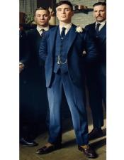 Blue Peak Lapel Peaky Blinders Suits Custom (Peaky Blinder Custome)