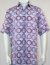 Mens Pink Tones Loose Flowing Fit Bassiri Short Sleeve Shirt