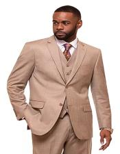 Oatmeal Single Breasted 2 Button Notch Lapel Suit