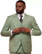 Grass Single Breasted 2 Button Notch Lapel Suit