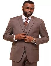 Taupe Single Breasted 2 Button Notch Lapel Suit