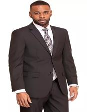 Notch Lapel Two Flap Front Pockets Black Suit