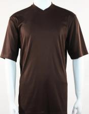 Bassiri Short Sleeve Brown Shirts