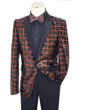 Black / Red Metallic Sequined Windowpane Design Satin Blazer B6363