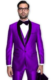 Purple Tuxedo Shawl Collar Vested Jacket & Pants 3 Piece Suit