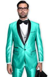 Tuxedo Shawl Collar Vested Jacket & Pants 3 Piece Suit Prom