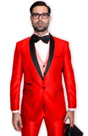 Tuxedo Shawl Collar Vested Jacket & Pants 3 Piece Suit Prom or Wedding or Shiny Metallic Fabric