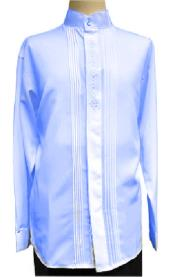 Mens Banded Collar Light Royal Blue Long Sleeve Shirt