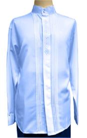 Royal Blue Mandarin Style Collarless Dress Shirt Long Sleeve Shirt for Mens