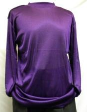 Mens Purple Pronti Shiny Long Sleeve Mock Neck Shirt