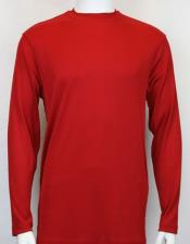Mens Red Pronti Shiny Long Sleeve Mock Neck Shirt