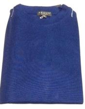 Royal Blue Pronti Shiny Long Sleeve Mock Neck Shirt for Men