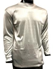 Mens Silver Pronti Shiny Long Sleeve Mock Neck Shirt