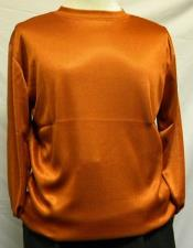 Rust Pronti Shiny Long Sleeve Mock Neck Shirt for Men